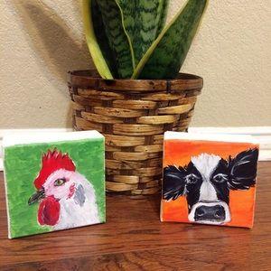Cow and chicken bundle mini canvas farmhouse art